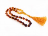 OLIVE MULTICOLORED AMBER ISLAMIC ROSARY BEADS
