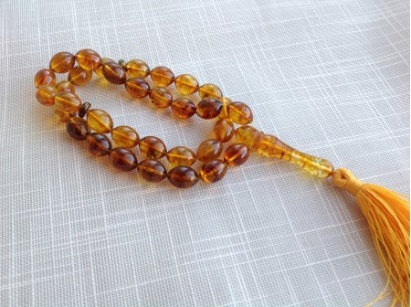 LIGHT AMBER ISLAMIC ROSARY OLIVE BEADS