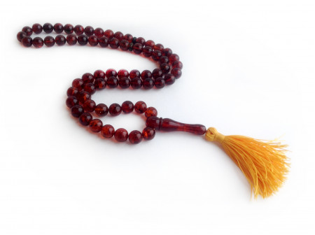 DEEP RED AMBER ISLAMIC PRAYER BEADS 9.5mm