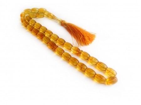 LEMON AMBER ISLAMIC ROSARY BARREL SHAPE BEADS
