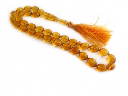 LEMON AMBER ISLAMIC ROSARY OLIVE BEADS