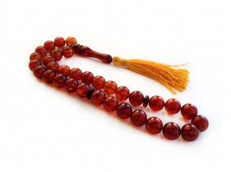 CHERRY RED AMBER ISLAMIC ROSARY BEADS 11mm