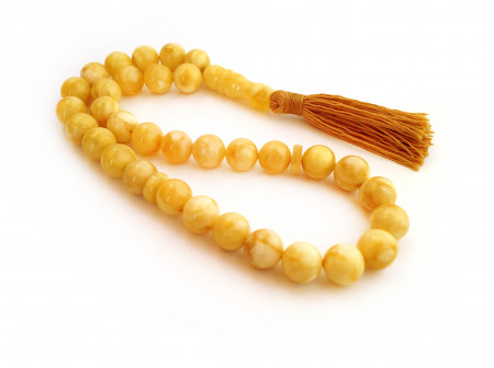 PRESSED WHITE AMBER ISLAMIC ROSARY