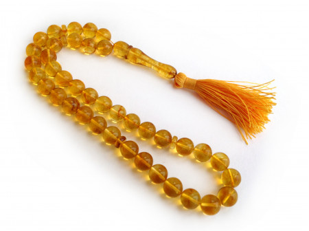 LEMON AMBER ISLAMIC 39 ROSARY BEADS 10MM