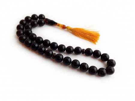 BLACK AMBER ISLAMIC ROSARY BEADS 13mm