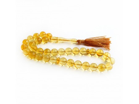 CLEAR YELLOW AMBER ISLAMIC ROSARY BEADS 11MM