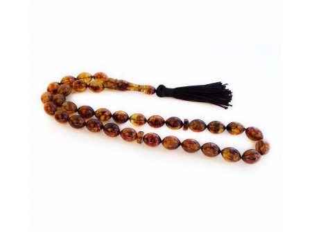 AMBER ISLAMIC OLIVE SHAPED ROSARY BEADS