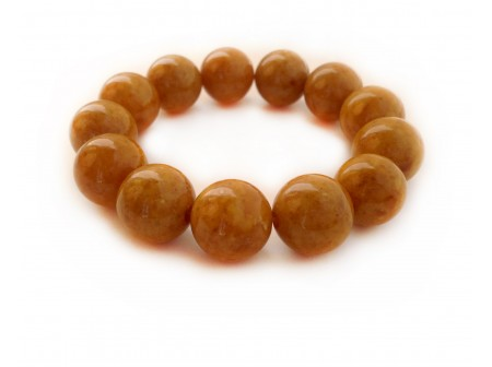 PRESSED AMBER MASSIVE ROUND BEAD BRACELET 16mm