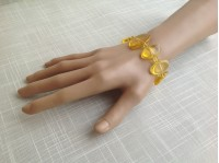 STRETCHY YELLOW AMBER PLATE BRACELET