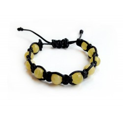 ADJUSTABLE AMBER & LEATHER SHAMBALLA BRACELET