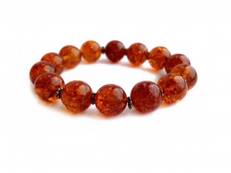 RED AMBER BEADED BRACELET WITH METAL FLOWERS 13mm