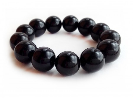STRETCHY BLACK AMBER BRACELET