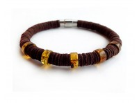 LEATHER BRACELET WITH AMBER INSERTS