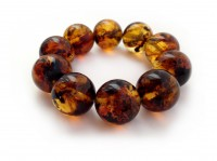 MULTICOLORED AMBER BRACELET WITH BIG ROUND BEADS