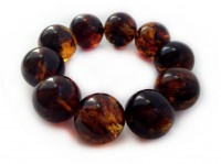 MULTICOLORED DARK AMBER BRACELET WITH BIG BEADS