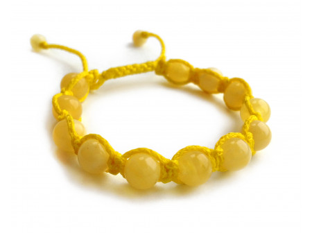 ADJUSTABLE SHAMBALLA YELLOW AMBER BRACELET