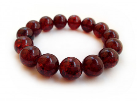DARK CHERRY AMBER BEAD BRACELET 13mm