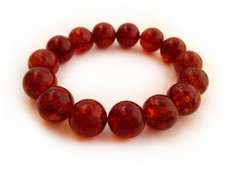 CHERRY AMBER BEAD BRACELET 14mm