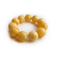 PRESSED ROYAL WHITE AMBER BEAD BRACELET 19.5mm