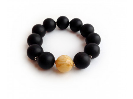 BLACK & WHITE AMBER BRACELET 16mm