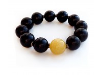 BLACK & YELLOW AMBER BRACELET