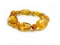 STRETCHY YELLOW AMBER BEAD BRACELET