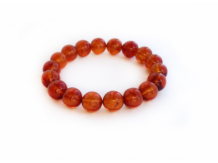 AMBER CHERRY BEAD BRACELET 11mm