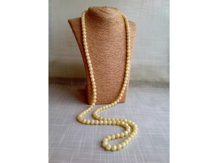 YELLOW AMBER LONG NECKLACE