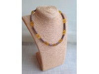 MODERN AMBER & LEATHER NECKLACE