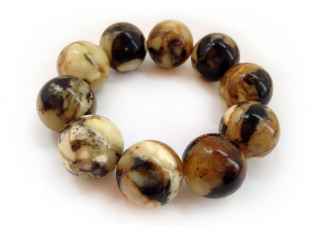 PRESSED BLACK & WHITE AMBER BEAD BRACELET 21.5mm
