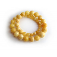 PRESSED WHITE AMBER NECKLACE 9mm - 19mm