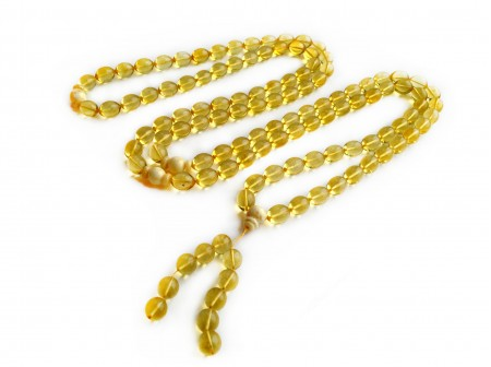 TIBETAN BUDDHIST MALA 108 CLEAR AMBER BEADS