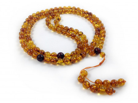 ADJUSTABLE ZEN MALA WITH 108 COGNAC AMBER BEADS  (3 sections) 8mm