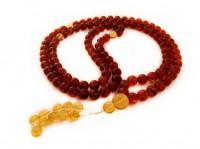 TIBETAN BUDDHIST MALA 108 CHERRY AMBER BEADS