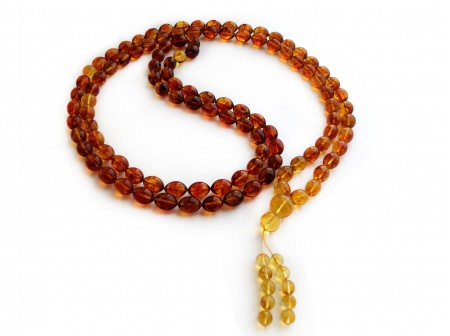 TIBETAN BUDDHIST MALA 108 AMBER BEADS OLIVE SHAPED