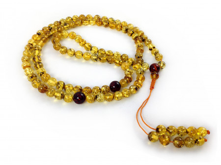 ADJUSTABLE ZEN MALA WITH 108 GREEN AMBER BEADS  (3 sections) 7mm