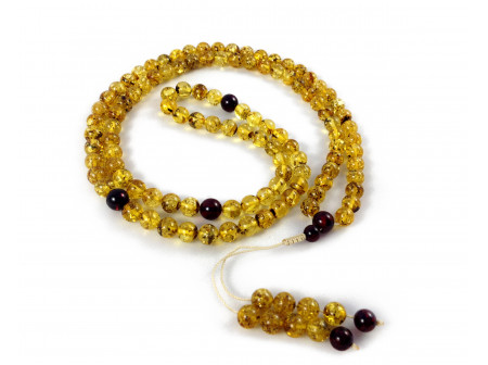 ADJUSTABLE ZEN MALA WITH 108 GREEN AMBER BEADS  (4 sections) 8mm