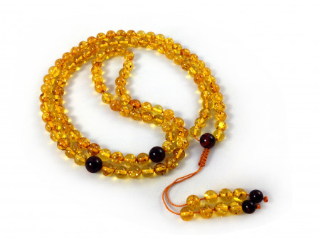 ADJUSTABLE ZEN MALA WITH 108 YELLOW AMBER BEADS 7mm