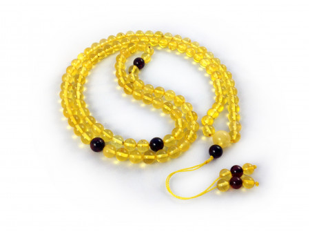 ADJUSTABLE ZEN MALA WITH 108 YELLOW AMBER BEADS 8mm