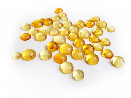 YELLOW LEMON ROUND CABOCHONS