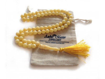 Pressed White Amber Islamic Rosary with 66 Beads