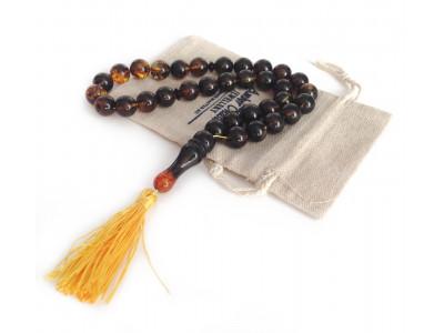 33 Dark Amber Beads in Islamic Rosary