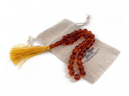 Amber Islamic Rosary Beads: 11mm