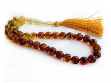 MULTICOLORED AMBER ISLAMIC ROSARY BEADS 9mm