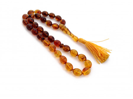 33 Amber Beads Islamic Rosary: Olive Shape
