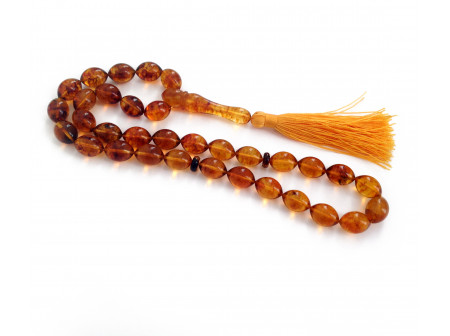 33 Amber Beads Islamic Rosary: Olive Shape