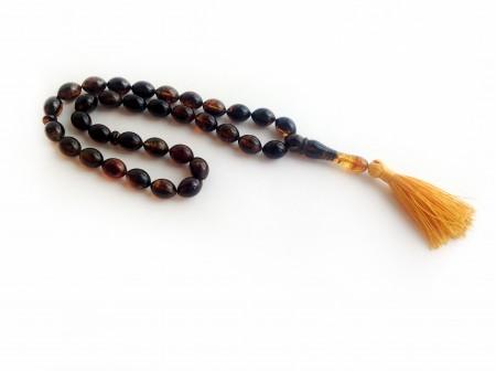 Dark Amber Muslim Rosary Olive Beads