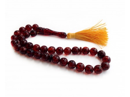 DEEP CHERRY AMBER ISLAMIC PRAYER BEADS 9.5mm