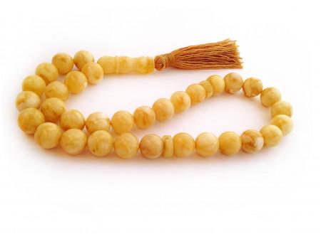 White Amber Rosary Beads