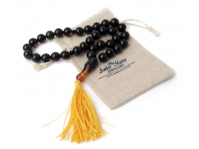 Black Amber Islamic Rosary Beads 13mm